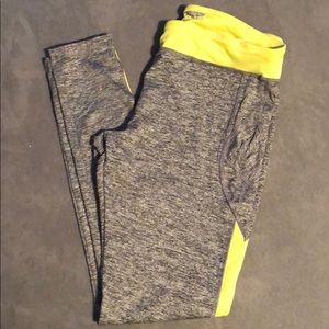 Gray and fluorescent green athletic leggings